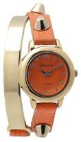 Geneva Platinum Women's Stud Accent Simulated Leather and Metal Wrap Watch - Orange
