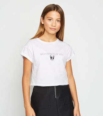 New Look Girls Distracted By Dogs Slogan T-Shirt
