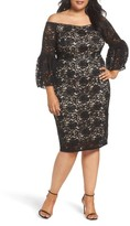 Adrianna Papell Plus Size Women's Juliet Off The Shoulder Lace Dress