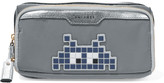 Anya Hindmarch Space Invader metallic leather-trimmed appliquéd shell cosmetic case