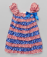 Tutus by Tutu AND Lulu Blue & Red Chevron Flag Ruffle Dress - Toddler & Girls