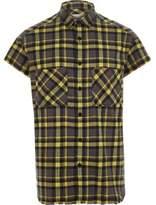 River Island Mens Yellow short sleeve check shirt