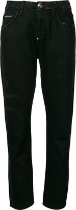 Philipp Plein Crystal Embellished Straight-Leg Jeans