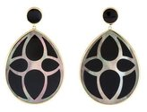 Ippolita 18K Polished Rock Candy Carved Black Shell Over Onyx Layers Large Teardrop Earrings