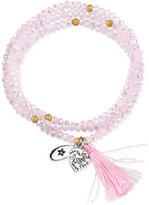 "Unwritten Love Amore"" Pink Beaded Wrap Tassel Bracelet with Silver-Plated Brass Accents"