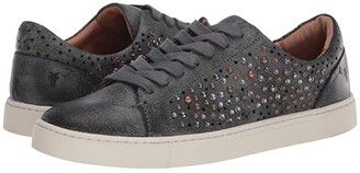 Frye Ivy Deco Stud Low Lace (Black Waxed Vintage Suede) Women's Lace up casual Shoes
