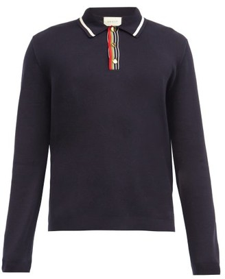 Gucci Web-stripe Long-sleeved Cotton-jersey Polo Shirt - Navy