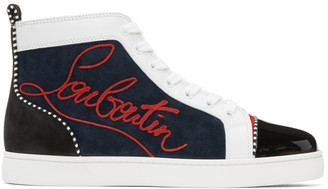 Christian Louboutin Navy Louis Flat Pat High-Top Sneakers