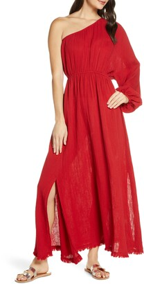 Red Carter Julia One-Shoulder Maxi Cover-Up Dress