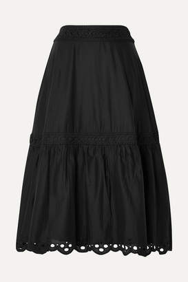 J.Crew Broderie Anglaise-trimmed Organic Cotton-voile Midi Skirt - Black