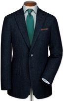 Slim Fit Blue Tweed Wool Jacket Size 38 By Charles Tyrwhitt