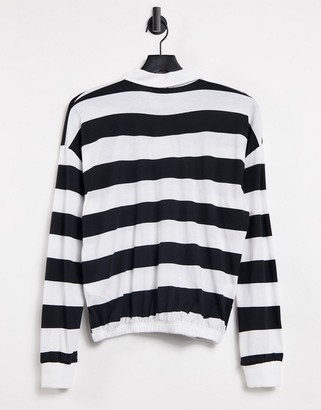 New Look rugby collar t-shirt with heart embroidery in black stripe