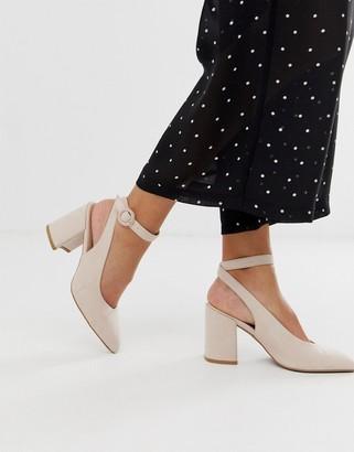 Qupid slingback ankle tie block heel shoes