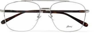 Brioni Aviator-Style Silver-Tone And Tortoiseshell Acetate Optical Glasses