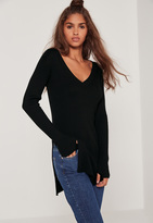 Missguided Black V Neck Side Split Sweater