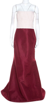 Carolina Herrera Burgundy and Pink Silk Strapless Gown XL