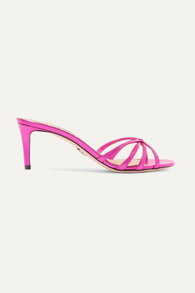 Prada 65 Metallic Leather Mules - Fuchsia