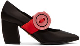 Prada Black Satin Button Mary Jane Heels