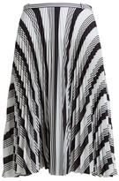 Balenciaga Striped Pleated Crepe Skirt - Womens - Black White