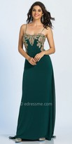 Dave and Johnny Applique Embellished Lattice Back Prom Dress