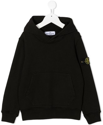 Stone Island Junior Arm-Logo Cotton Hoodie