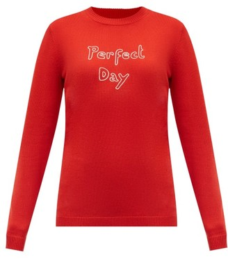 Bella Freud Perfect Day Embroidered Merino-wool Sweater - Red