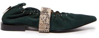 Toga Snakeskin-effect Strap Drawstring Suede Flats - Womens - Dark Green
