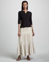 Joan Vass Lace Tiered Skirt