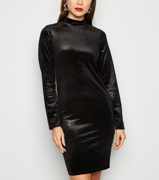 New Look Velvet Faux Snake Glitter Bodycon Dress
