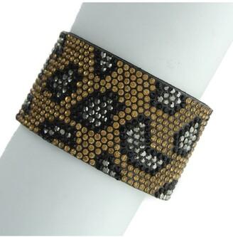 Olivia Welles Arwen Rhinestone Leopard Print Faux Leather Bracelet