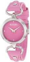 Versus By Versace Women's 3C67900000 Versus V Pink Dial with Crystals Genuine Leather Watch