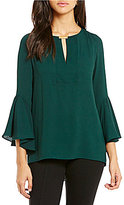Gibson & Latimer Split V-Neck with Bar Hi-Low Hem Bell Sleeve Blouse