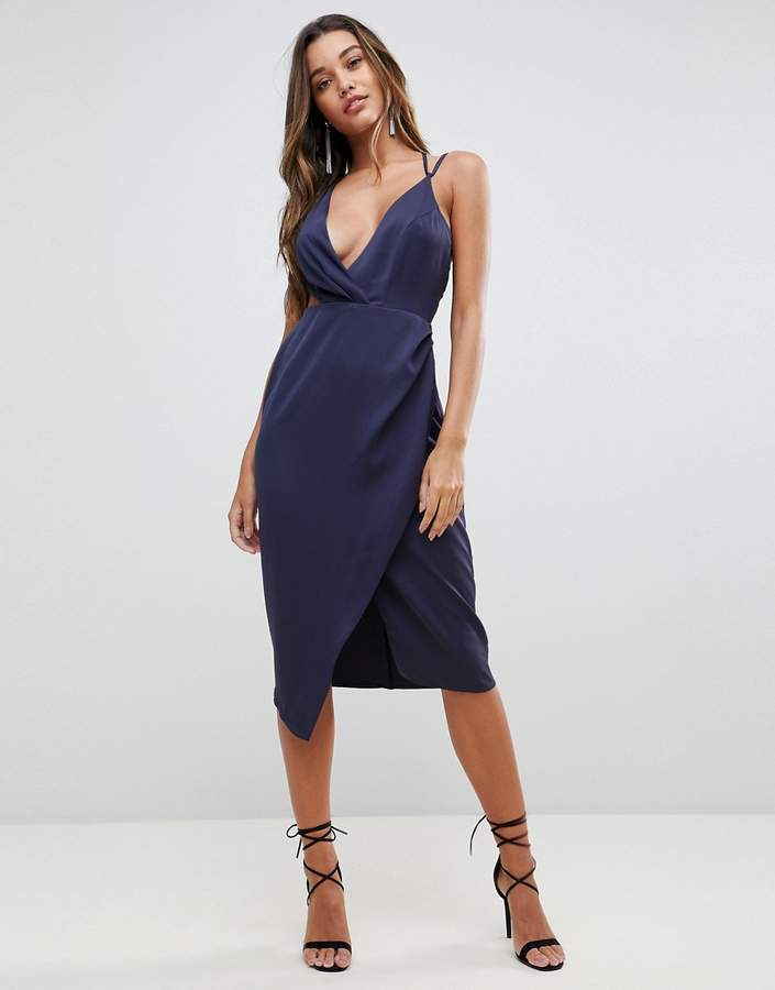 Asos Design Cami Satin Midi Pencil Dress with Side Cut Out