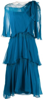 Alberta Ferretti Tiered Semi-Sheer Dress