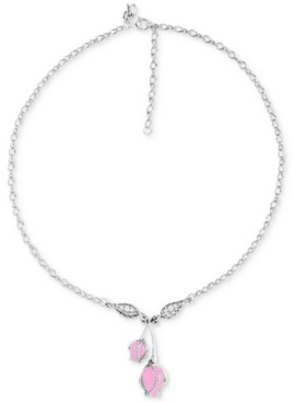 "Carolyn Pollack Dyed Pink Jade Rose Pendant Necklace in Sterling Silver, 17"" + 3"" extender"