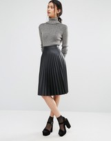 Oasis Leather Look Pleated Midi Skirt