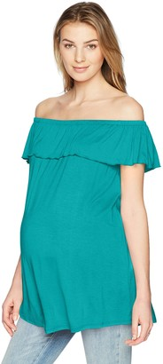 Three Seasons Maternity Women's Maternity Off The Shoulder Solid Top