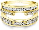 TwoBirch 1.04 ct. Cubic Zirconia Combination Cathedral and Classic Ring Guard in 14k Yellow Gold (1 ct. twt.)