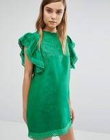 Style Mafia Embroidered Green Dress