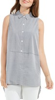 Vince Camuto Sleeveless Mixed Stripe Shirt