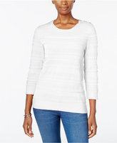Karen Scott Textured Button-Shoulder Sweater, Only at Macy's