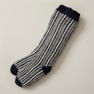 Indigo Vertical Rib Reading Socks Navy Blue