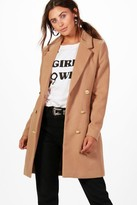 Thumbnail for your product : boohoo Petite Double Breasted Military Duster Coat