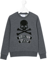 Philipp Plein skull & crossbones logo sweatshirt - kids - Cotton - 4 yrs