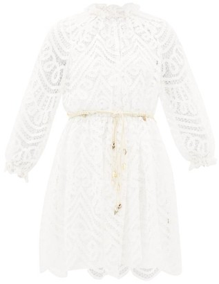 Zimmermann Bonita Belted Lace Mini Dress - Ivory