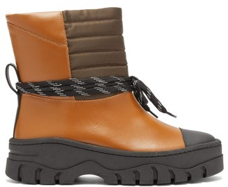 Ganni Quilted-panel Leather Biker Boots - Black Tan