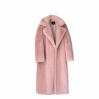 NKJGFV Winter Women Faux Fur Coat Luxury Long Fur Coat Loose Lapel Overcoat Thick Warm Plus Size Female Plush Coats Pink S