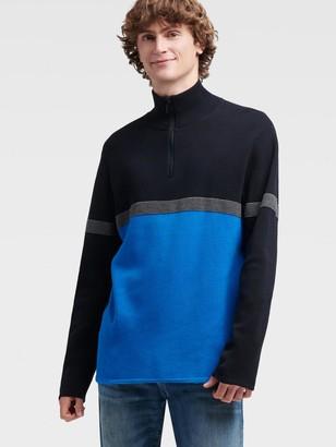 DKNY Men's Logo Colorblock Half-zip Pullover - Princess Blue - Size XS