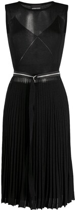 Ermanno Ermanno Sheer Pleated Midi Dress