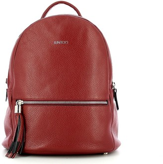 Iuntoo Wine Red Leather Armonia Zip Backpack